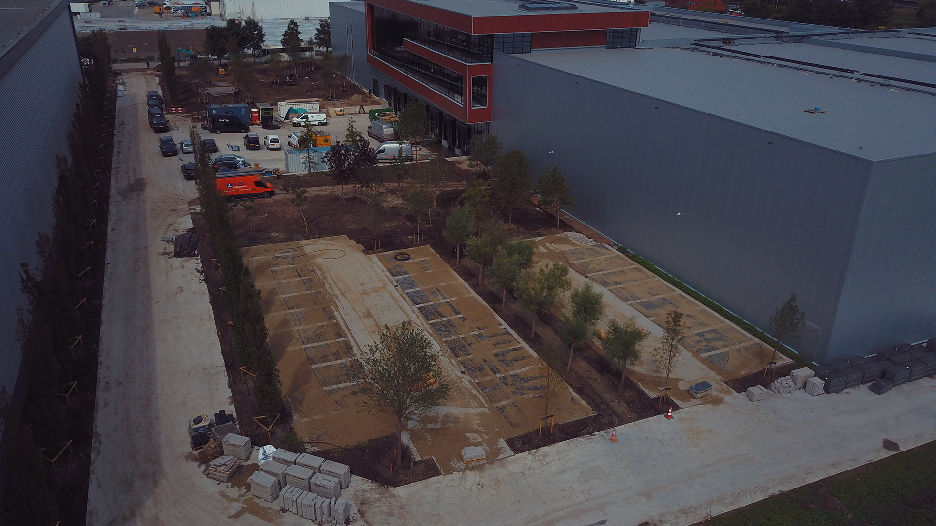 MAAZ Cheese Distributiecentrum - bouwfase - parkeerterrein